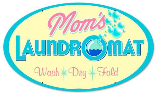 Retro Moms Laundry Round Metal Sign 14 x 24 Inches