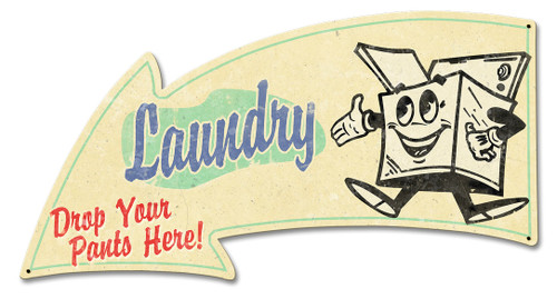 Laundry Arrow Grunge Metal Sign 26 x 14 Inches