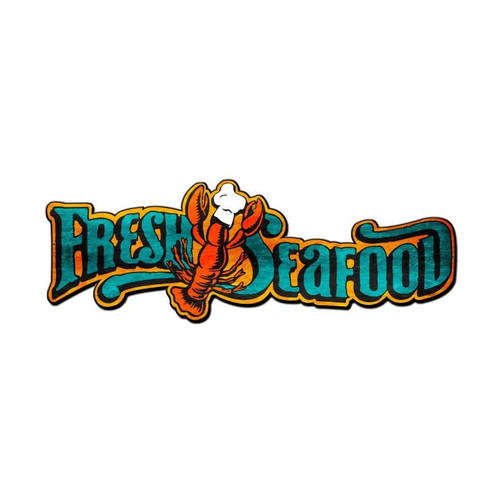 Fresh Seafood Metal Sign 24 x 9 Inches