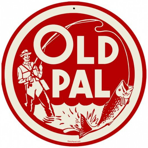 Retro Old Pal Round Metal Sign 14 x 14 Inches