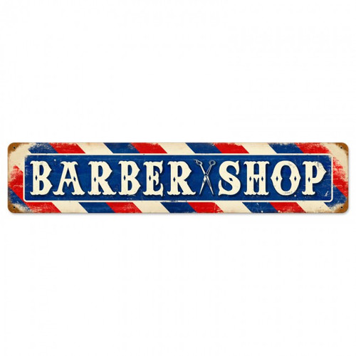 Retro Barber Shop Metal Sign 28 x 6 Inches