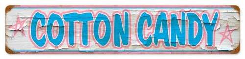Retro Cotton Candy Metal Sign 28 x 6 Inches
