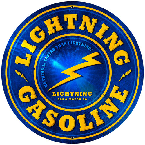 Lightning Gasoline Metal Sign 28 x 28 Inches