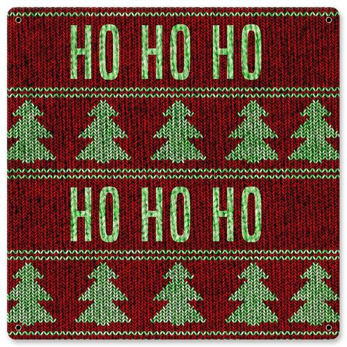 Christmas Sweater Ho Ho Ho Metal Sign 12 x 12 Inches
