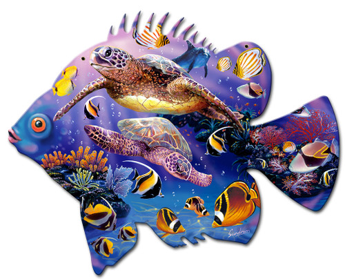 Fish Miracle Metal Sign 20 x 16 Inches