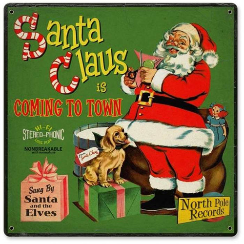 Vintage Santa Record Cover Metal Sign   12 x 12 Inches