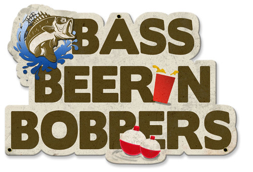 Bass Beer n Bobbers Metal Sign 19 x 13 Inches