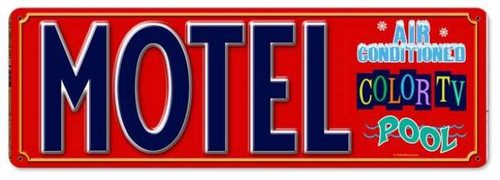 Vintage Motel Metal Sign 8 x 24 Inches