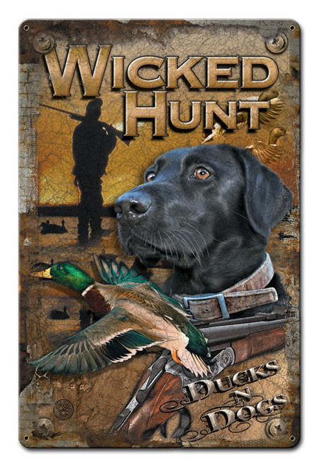 Ducks And Dogs Metal Sign 12 x 15 Inches