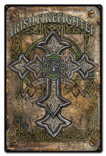 Irish Firefighter Metal Sign 12 x 18 Inches