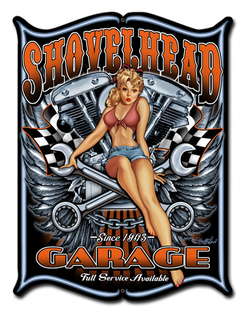 Shovelhead Metal Sign 14 x 19 Inches