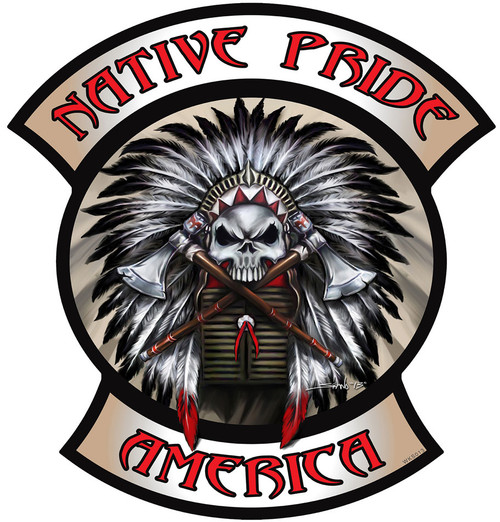Native Pride Indian Skull Metal Sign 26 x 24 Inches
