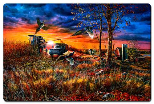 Harvest Ringnecks Metal Sign 16 x 24 Inches