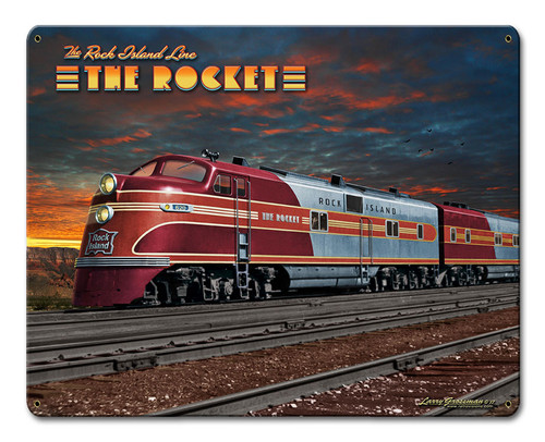 Rocket Train Metal Sign 15 x 12 Inches