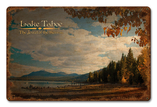 Lake Tahoe Jewel Of The Sierras Metal Sign 18 x 12 Inches