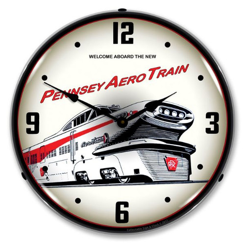 Lighted Pennsey Aero Train  Lighted Wall Clock 14 x 14 Inches