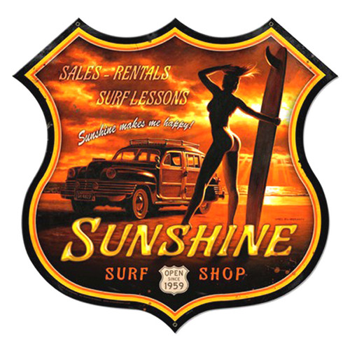 Sunshine Surf Metal Sign 28 x 27 Inches