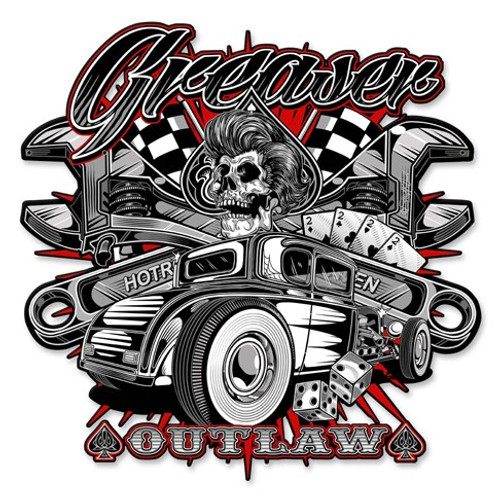Greaser Outlaw Metal Sign 14 x 14 Inches