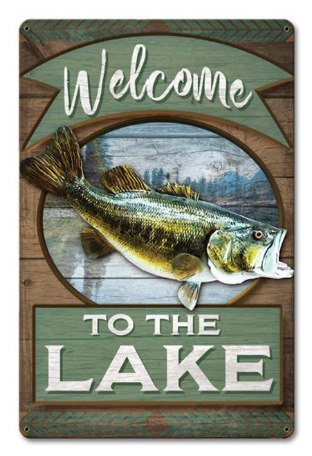 Welcome To The Lake Metal Sign 12 x 18 Inches