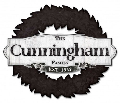 Family Name Wreath Metal Sign - Personalized 22 x 18 Inches