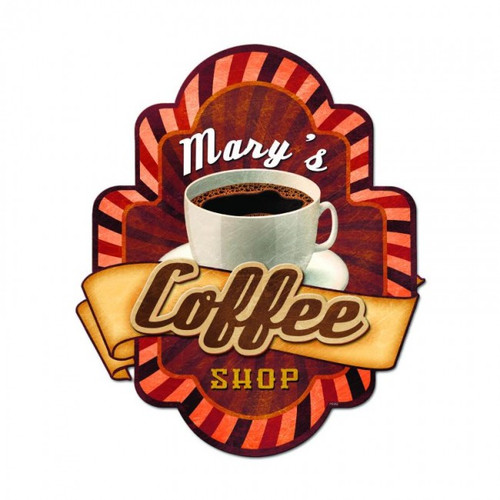 Coffee Shop 3-D Metal Sign - Personalized 17 x 20 Inches