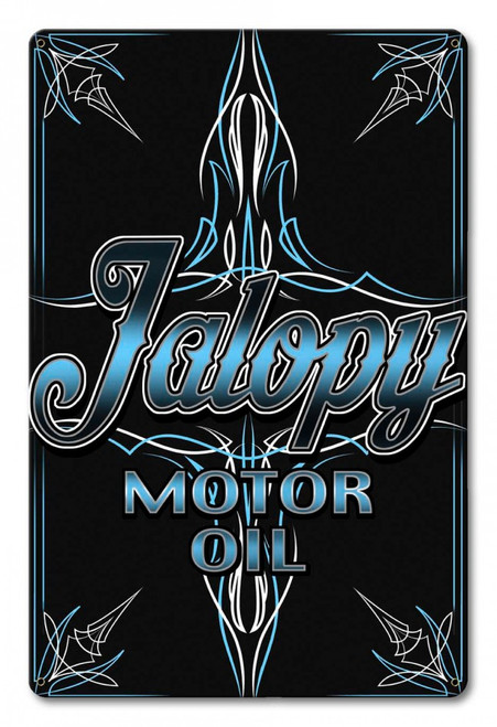 Jalopy Motor Oil Can Pin Metal Sign 12 x 18 Inches
