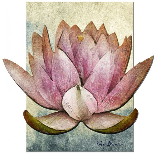 3D Pink Lotus Painting Metal Sign 24 x 24 Inches