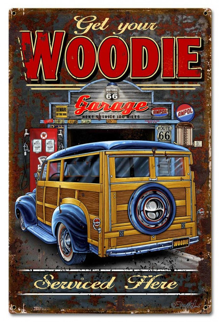Woodie Metal Sign 16 x 24 Inches