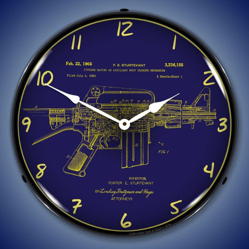 AR-15 Patent Lighted Wall Clock 14 x 14 Inches
