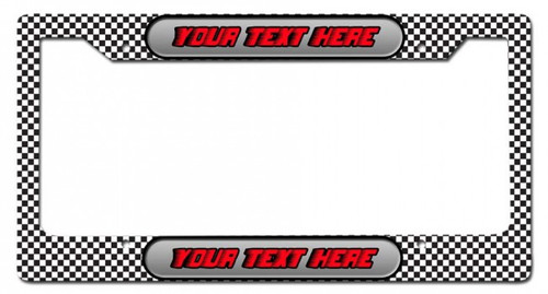 Checkerboard Personalized License Frame 12 x 6 Inches