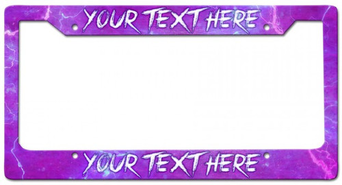 Purple Lightning Personalized License Frame 12 x 6 Inches