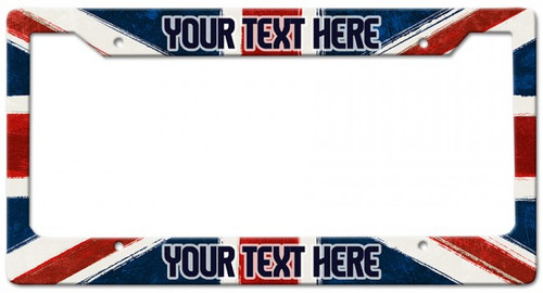 Union Jack Personalized License Frame 12 x 6 Inches