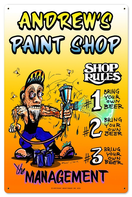Painter Shop Metal Sign - Personalized 16 x 24 Inches