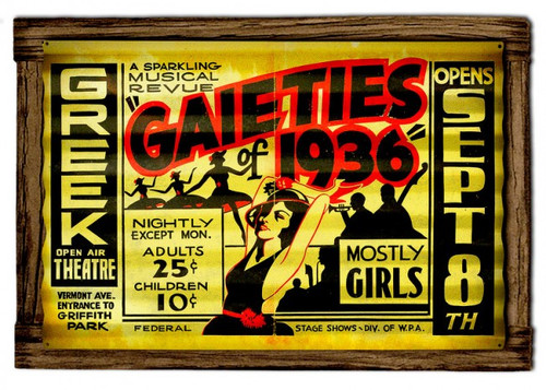 Gaieties Corrugated Rustic Metal and  Barn Wood Sign 24 x 16 Inches