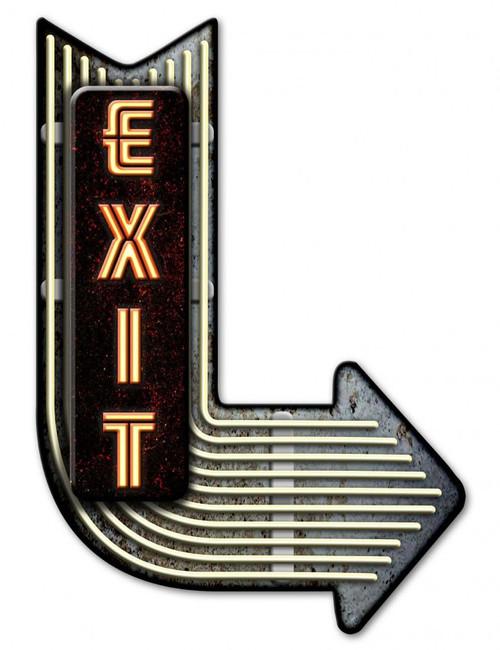 Exit Right Arrow 3-D Metal Sign 17 x 25 Inches
