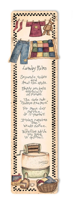 Laundry Rules Metal Sign 7 x 22 Inches