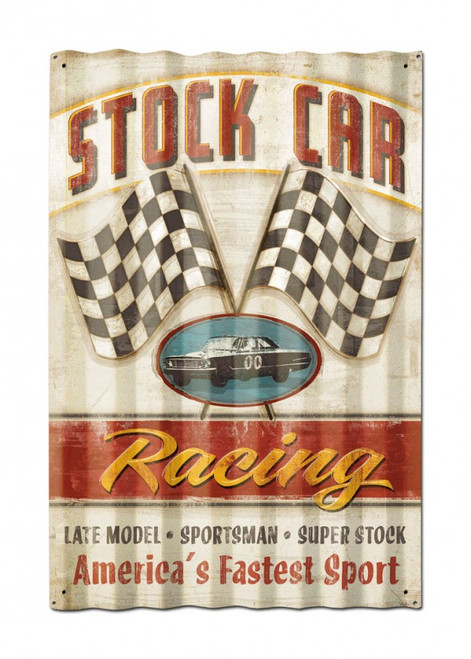 Stock Car Corrugated Metal Sign 16 x 24 Inches