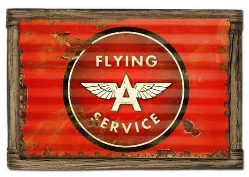 Flying A Service Corrugated Rustic Metal and  Barn Wood Sign 24 x 16 Inches