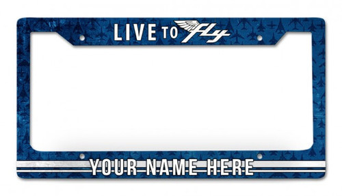 Live To Fly Personalized License Plate Frame 12 x 6 Inches