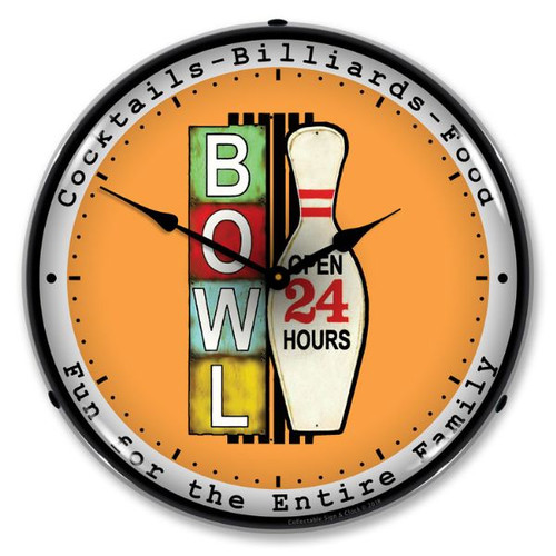 Bowling 24 Hours Lighted Wall Clock 14 x 14 Inches