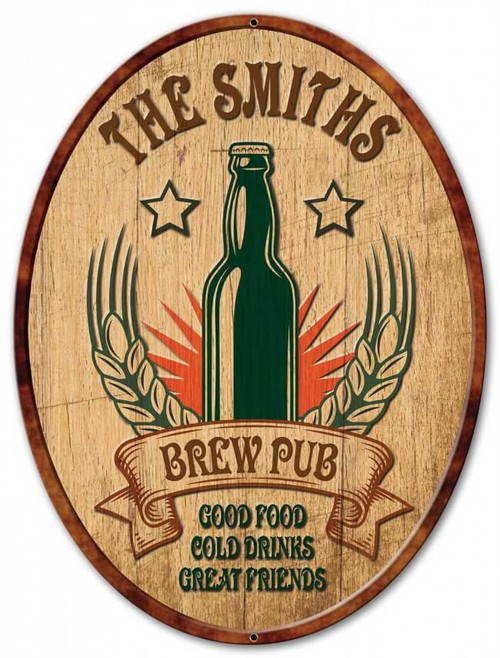 Brew Pub Metal Sign - Personalized 18 x 24 Inches