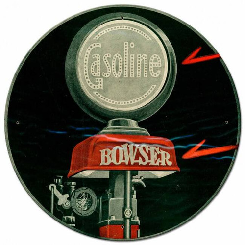 Bowser Gasoline Metal Sign 28 x 28 inches