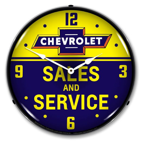 Chevrolet Bowtie Sales and Service LED Lighted Wall Clock 14 x 14 Inches