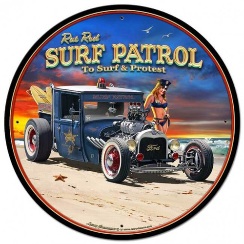 1929 Rat Rod Surf Patrol Metal Sign 14 x 14 inches