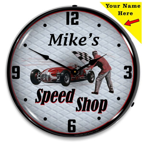 Personalized Speed Shop LED Lighted Wall Clock 14 x 14 Inches (Add Your Name)