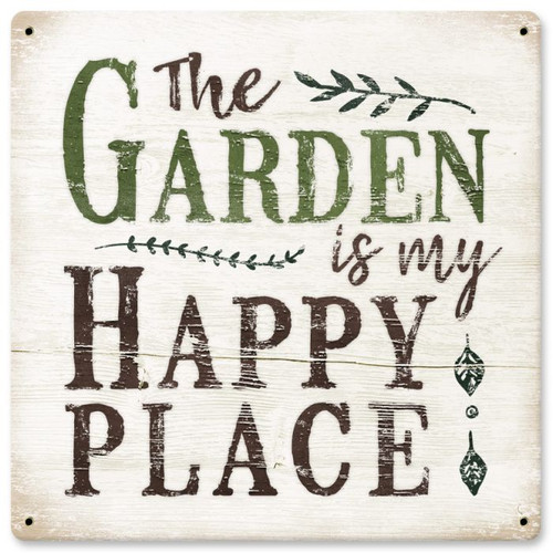 Garden Happy Place Sign 12 x 12 Inches