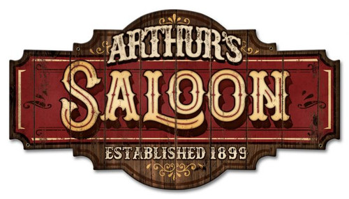 Saloon Metal Sign - Personalized 22 x 12 Inches