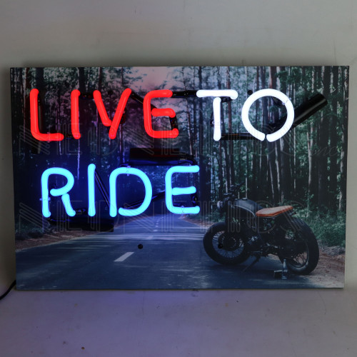 Live To Ride Neon Sign 18 x 12 x 4 Inches