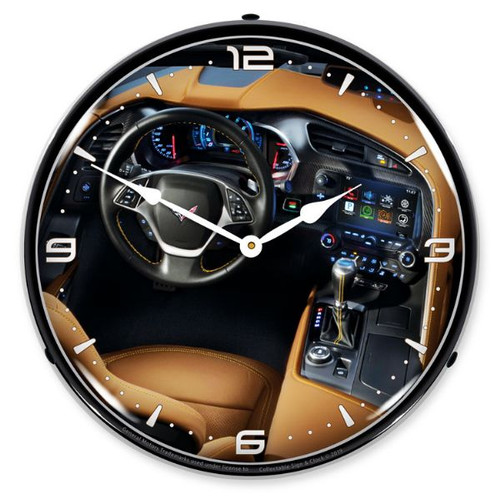 C7 Corvette Dash LED Lighted Wall Clock 14 x 14 Inches
