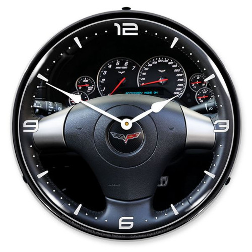 C6 Corvette Dash LED Lighted Wall Clock 14 x 14 Inches